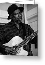 Street Musician Black And White Greeting Card