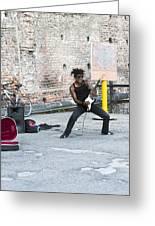 Street Musician Milan Italy Greeting Card