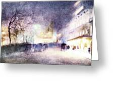 Street Scene At Dusk Greeting Card