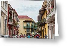 Street Scene In Old Town, Cartagena Greeting Card