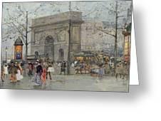 Street Scene In Paris Greeting Card by Eugene Galien-Laloue