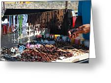 Street Vendor Selling Rosaries Greeting Card