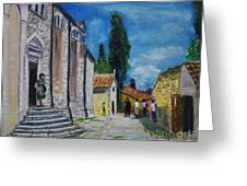 Street View In Rovinj Greeting Card
