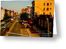 Street With Bus Stop Greeting Card