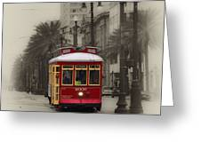 Streetcar On Canal Street - New Orleans Greeting Card