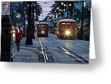 Streetcars On Canal Street Greeting Card