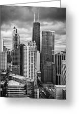 Streeterville From Above Black And White Greeting Card