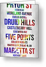 Streets Of Atlanta 1 Greeting Card