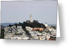 Streets Of San Francisco With Coit Tower Greeting Card