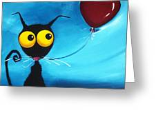Stressie Cat And Her Love Balloon Greeting Card