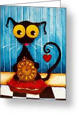Stressie Cat And The Tick Tock Greeting Card
