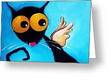 Stressie Cat Angel Greeting Card