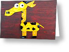 Stretch The Giraffe License Plate Art Greeting Card