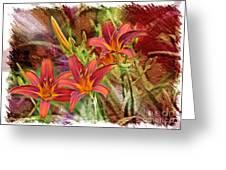 Striking Daylilies - Digital Art Greeting Card