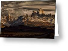 Striped Sky Over The Patagonia Spikes Greeting Card