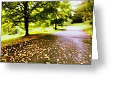 Stroll On An Autumn Lane Greeting Card