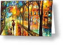Stroll With My Best Friend - Palette Knife Oil Painting On Canvas By Leonid Afremov Greeting Card