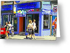 Strolling By The Blue Boy Frozen Yogurt Glacee Cafe Plateau Mont Royal City Scene Carole Spandau   Greeting Card