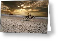 Strolling Horses Greeting Card