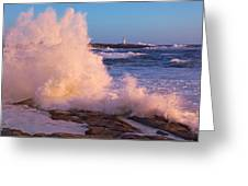 Strong Winds Blow Waves Onto Rocks Greeting Card