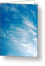 Strong Winds Forming Cirrus Clouds With A Deep Blue Sky. Greeting Card
