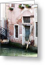 Stucco And Brick Canalside Building Venice Italy Greeting Card