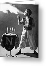 Student Works As Fire-eater Greeting Card