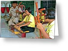 Students Playing Traditional Thai Instruments In Music Class At  Baan Konn Soong School In Sukhothai Greeting Card