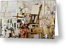 Studio, 1986 Oil On Canvas Greeting Card