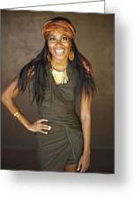 Studio Portrait Of African American Model Greeting Card by Kicka Witte