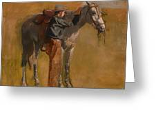 Study For Cowboys In The Badlands Greeting Card