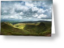 Stunning Large Panorama Landscape Of Brecon Beacons View From Pe Greeting Card
