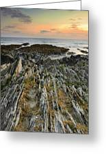 Stunning Vibrant Rock Formation Against Ocean And Beautiful Suns Greeting Card