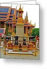Stupa Surrounded By Elephants At Grand Palace Of Thailand In Ban Greeting Card