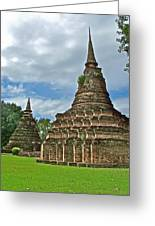 Stupas Of Wat Mahathat In 13th Century Sukhothai Historical Park-thailand Greeting Card