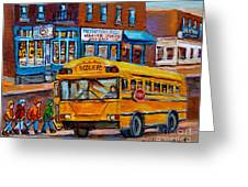 St.viateur Bagel And School Bus Montreal Urban City Scene Greeting Card