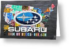 Subaru License Plate Map Sales Celebration Limited Edition 2013 Art Greeting Card