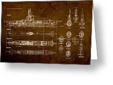 Submarine Blueprint Vintage On Distressed Worn Parchment Greeting Card