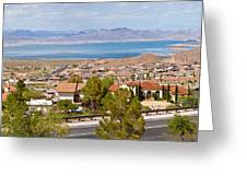 Suburbs And Lake Mead With Surrounding Greeting Card