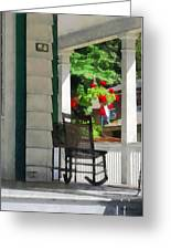 Suburbs - Porch With Rocking Chair And Geraniums Greeting Card by Susan Savad