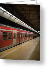 Subway Train At Platform Greeting Card