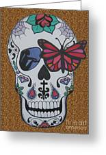 Sugar Candy Skull Leopard Greeting Card