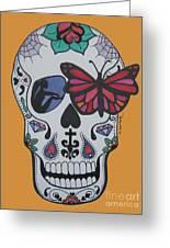 Sugar Candy Skull Orange Greeting Card
