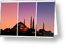 Suleymaniye Sundown Triptych 01 Greeting Card