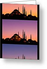 Suleymaniye Sundown Triptych 04 Greeting Card by Rick Piper Photography