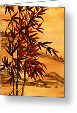 Sumi-e Red Bamboo Greeting Card by Diane Ferron