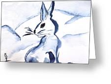 Sumi-e Snow Bunny Greeting Card