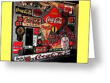 Sumi-e Styled Coca Cola Signs Greeting Card
