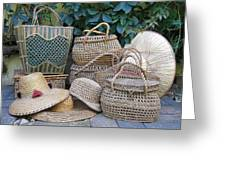 Summer Baskets And Hats Greeting Card