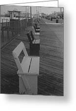Summer Benches Seaside Heights Nj Bw Greeting Card by Joann Renner